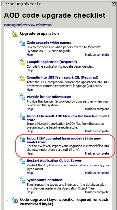 AOD code upgrade checklist